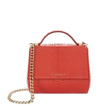 Givenchy Mini Pandora Shiny Python Box Bag Female Red