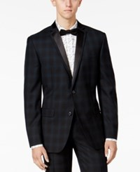 Bar Iii Men's Slim Fit Blackwatch Plaid Tuxedo Jacket Only At Macy's