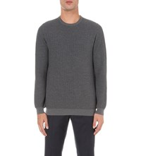 Slowear Crewneck Herringbone Wool Blend Jumper Char