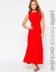 Lipstick Boutique Petite Maxi Dress With Cut Out Sides And Waistband Red