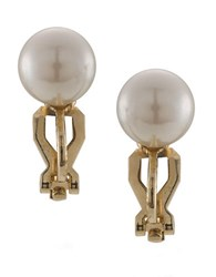 Carolee The Naomi White Faux Pearl Stud Clip On Earrings Pearl Gold