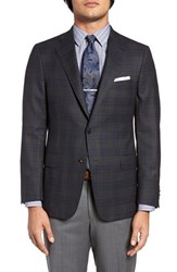 Hickey Freeman Men's Big And Tall Classic Fit Plaid Wool Sport Coat Charcoal