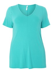 Evans Aqua Short Sleeve Top Blue