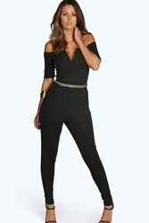Boohoo Gold Trim Bardot Jumpsuit Black