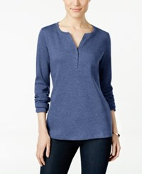 Karen Scott Long Sleeve Henley Top Only At Macy's Heather Indigo