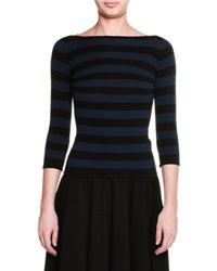 Tomas Maier Striped 3 4 Sleeve Boat Neck Top Black Navy