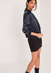 Missguided Contrast Rib Satin Bomber Jacket Navy Blue