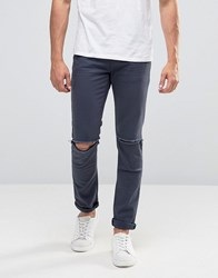 Asos Super Skinny Jeans With Knee Rips In Dark Blue Dark Blue