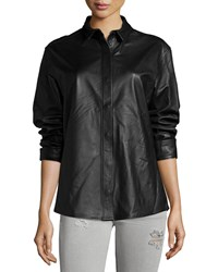 Iro Game Long Sleeve Lamb Leather Top Black
