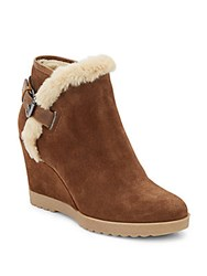 Aquatalia By Marvin K Crista Faux Fur Lined Suede Wedge Booties Chestnut