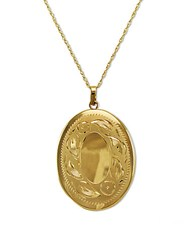 Lord And Taylor 14K Gold Engraved Oval Locket Necklace 14K Yellow Gold