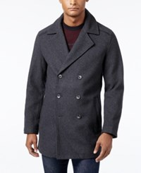 Alfani Men's Pea Coat With Faux Leather Trim Only At Macy's Charcoal Heather
