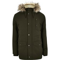 River Island Mens Green Faux Fur Hooded Parka Coat