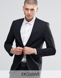 Only And Sons Skinny Lapelless Blazer With Stretch Black