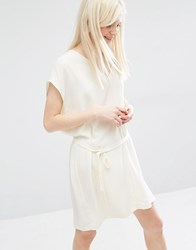 Monki Tie Waist Kimono Sleeve Dress White