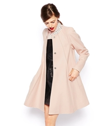 Asos Coat In Trapeze With Seam Detail Softpink