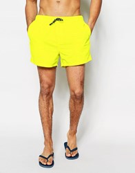 Asos Short Length Swim Shorts In Neon Yellow Neon Yellow