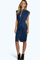 Boohoo Jessica Open Front Denim Dress Dark Blue