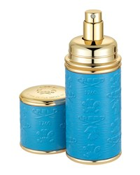 Logo Etched Leather Atomizer Gold Blue Creed