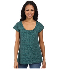 Woolrich Passing Trails S S Tee Blue Fir Geo Women's Short Sleeve Pullover Green