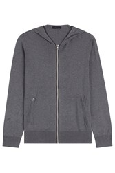 The Kooples Silk Cotton Zipped Cardigan Grey