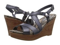 Naturalizer Robyn Spring Denim Leather Wood Wrap Heel Women's Wedge Shoes Navy