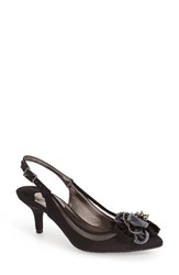 Women's J. Renee 'Adderly' Kitten Heel Slingback Pointy Toe Pump Black Satin