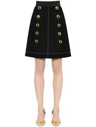 Dolce And Gabbana Stretch Double Wool Crepe Skirt