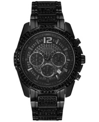 Guess Men's Chronograph Crystal Accent Black Ion Plated Bracelet Watch 47Mm U0291g3