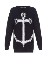N 21 Anchor Cotton Blend Sweater Navy