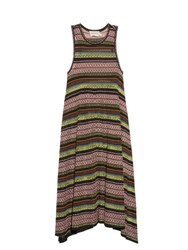 Mary Katrantzou Shwing Jacquard Knit Sleeveless Dress Brown Stripe