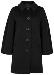 Boutique Moschino Black Cape Back Wool Blend Coat