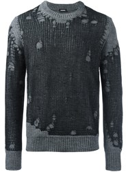 Diesel Destroyed Effect Pullover Grey
