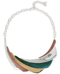 Robert Lee Morris Soho Two Tone And Colored Patina Sculptural Statement Necklace Two Tone