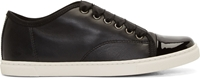 Lanvin Black Ribbon Lace Up Leather Sneakers