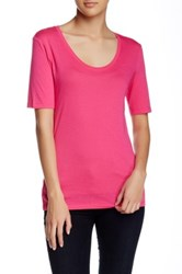 Susina Elbow Length Sleeve Scoop Neck Tee Petite Pink