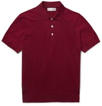 Brunello Cucinelli Slim Fit Knitted Cotton Polo Shirt Claret