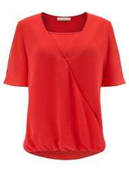 Jacques Vert Wrap Front Blouse Red