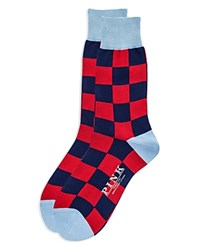 Thomas Pink Gingham Socks Navy Red