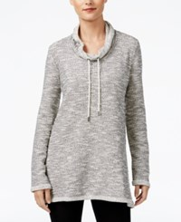 Styleandco. Style Co. Petite Marled Funnel Neck Sweatshirt Only At Macy's Deep Black