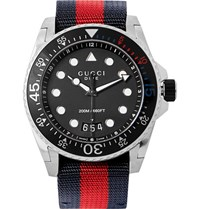 Gucci Stainless Steel And Webbing Watch Red