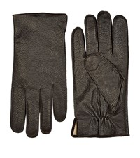 Boss Grained Leather Gloves Unisex Brown