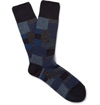 Anonymous Ism Patchwork Knitted Socks Navy