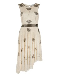 Gina Bacconi Floral Sequin And Beaded Dress Cream