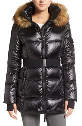 S13 Nyc Women's 'Nicky' Quilted Coat With Removable Faux Fur Trimmed Hood Jet