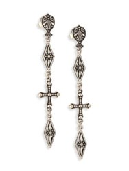 Konstantino Penelope Sterling Silver Cross Drop Earrings Silver Green