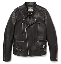 Blackmeans Quilted Leather Biker Jacket Black