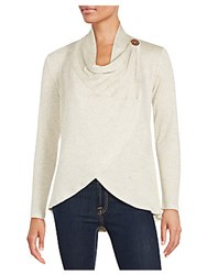 Bobeau Asymmetrical Hem Wrap Top Oatmeal