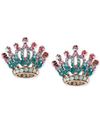 Betsey Johnson Rose Gold Tone Pave Crystal Crown Stud Earrings