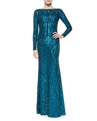 Jenny Packham Geometric Sequined Long Sleeve Gown